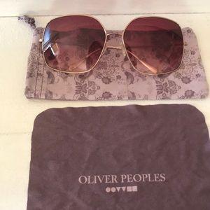 Oliver Peoples rose gold framed sunglasses
